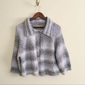 Ellen Tracy Ombré Knit Sweater Cape Open  Knit M
